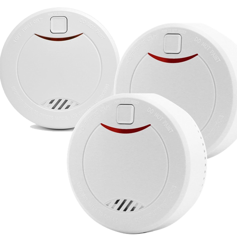 HEIMAN 10-Jahres Rauchmelder/Feuermelder / Brandmelder mit Status LED und fotoelektrischen Sensor - weiß - 3er-Set