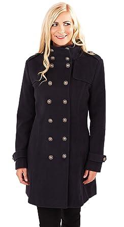 Stylish Ladies Military Style Long Coat Navy X Large: Amazon.co