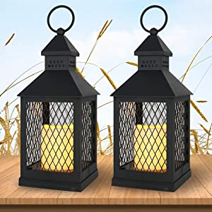 """Wondise Flameless Decorative Candle Lantern Battery Operated with Timer, 11"""" Hanging Lantern with Flickering Waterproof LED Pillar Candle for Indoor Outdoor Home Garden Decoration(Black, Set of 2)"""