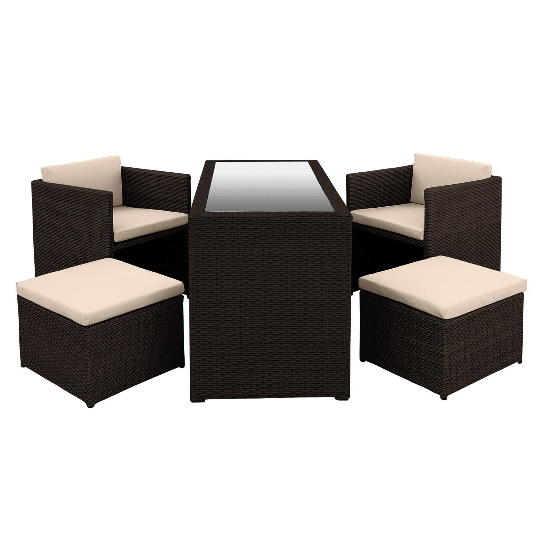 Anndora® Bethari Rattan Gartenmöbel Sitzgruppe Sessel Mit Kissen + Tisch  (Braun) Online Kaufen