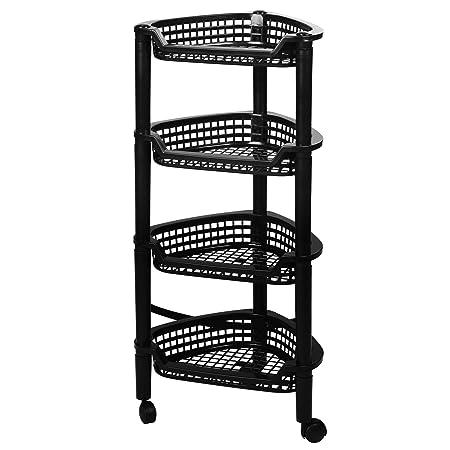 Beau EVELYN LIVING 4 Tier Black Corner Trolley Rack Cart Bath Kitchen Vegetable  Fruit Basket Shelf Storage