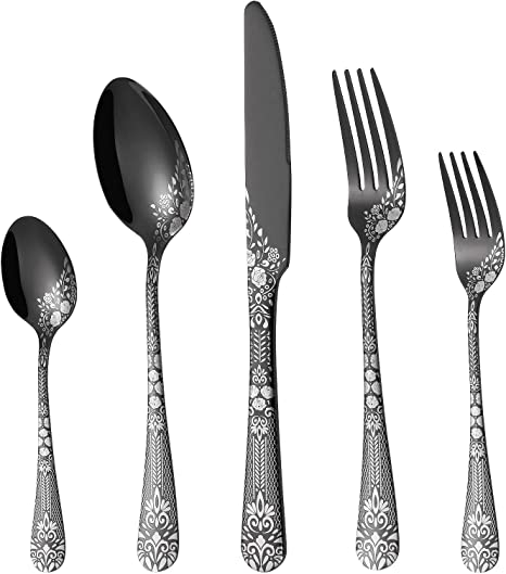 Amazon Com Philipala 20 Piece Silverware Stainless Steel Flatware Set For 4 People Black Cutlery Set Knives And Forks And Spoons Sets Unique Pattern Design Mirror Polish And Dishwasher Safe Kitchen Dining
