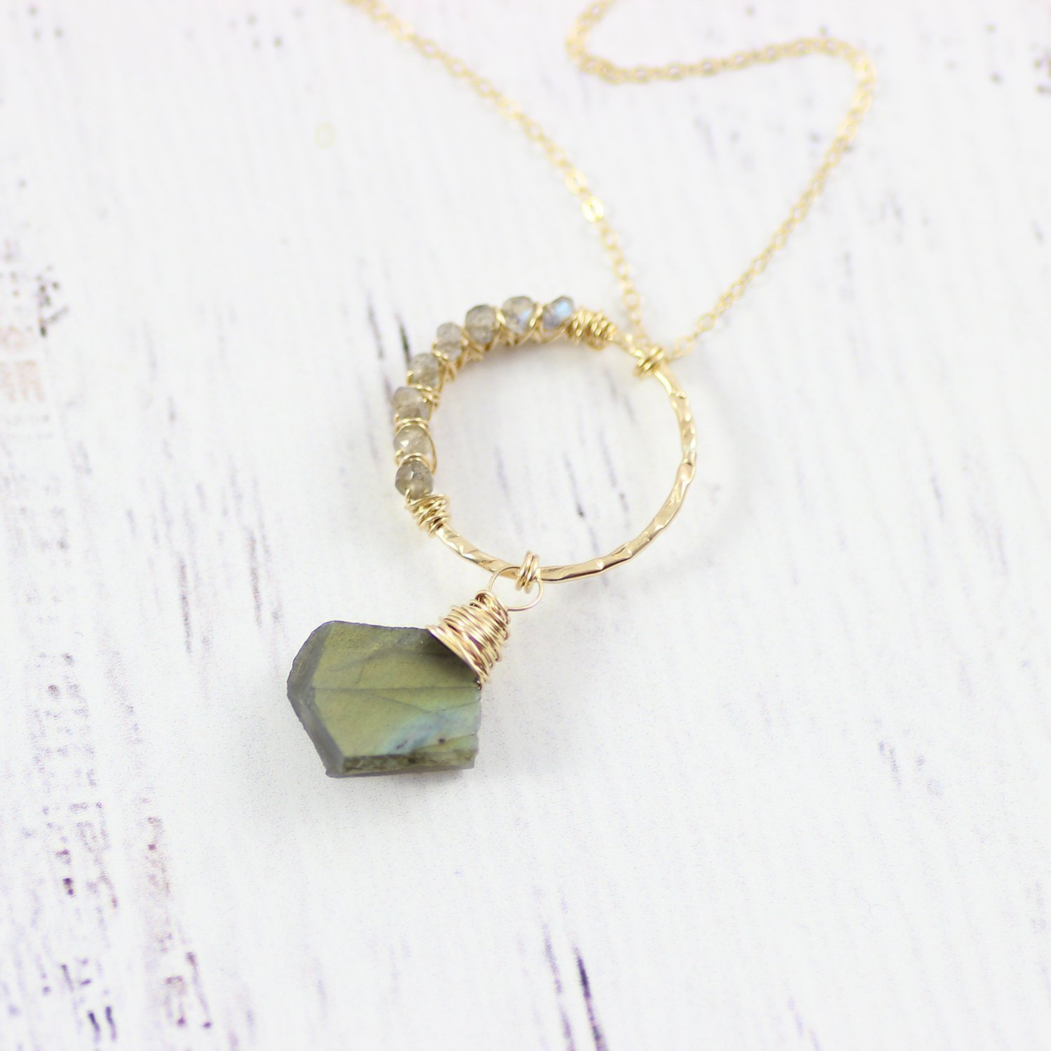 Exclusive for Amazon Prime Members - Labradorite Stone Beaded Pendant Gold Necklace - 16 Length