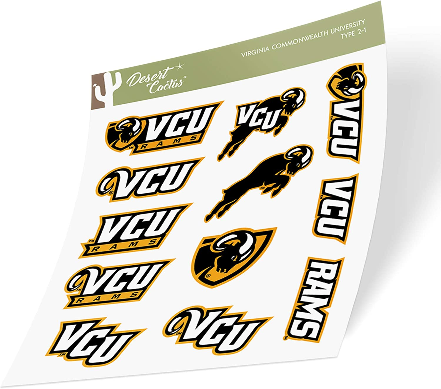 Virginia Commonwealth University VCU Rams NCAA Sticker Vinyl Decal Laptop Water Bottle Car Scrapbook (Type 2 Sheet)
