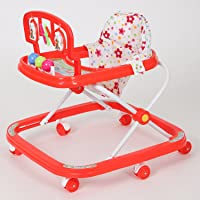 Dash Classic Baby Walker with Rattles and Hanging Toys (Red)