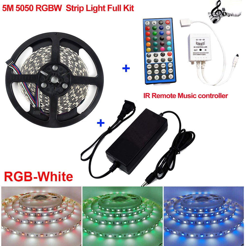 Firstsd 5M 16.4ft SMD 5050 RGBW RGBWW LED Strip Light Tape + Music Remote Controller +12V Power (RGBW(RGB+white) strip Full Kit, Non-waterproof strip)