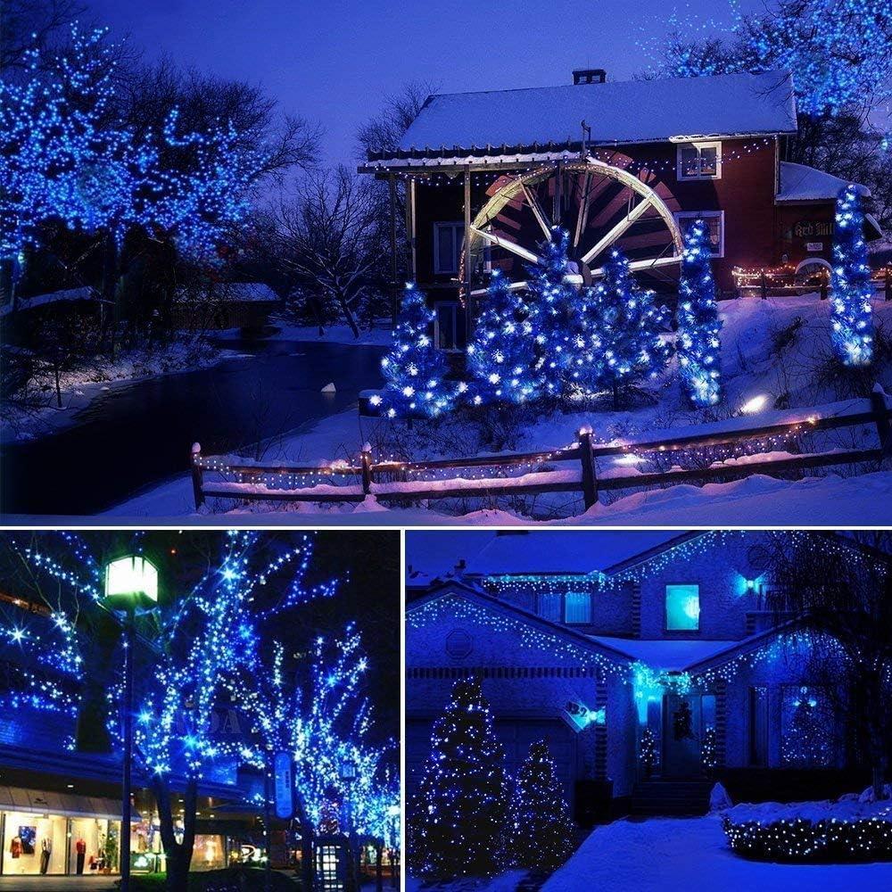 Kücheks Christmas String Lights, 32m 300 LED Solar Christmas Lights Waterproof Christmas Fairy Lights for Outdoor Gardens Wedding Christmas Decorations (Multicolor) Blue