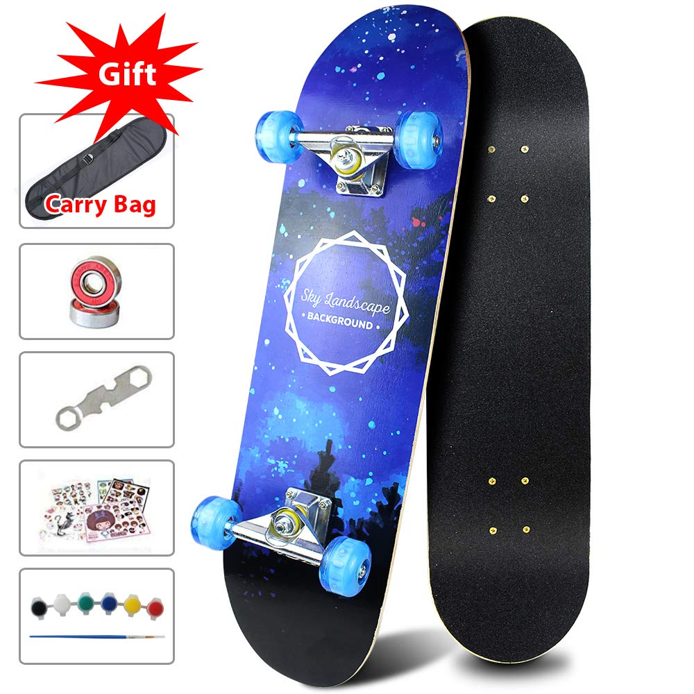 Easy_way Complete Skateboard with Colorful Light Up Flashing Wheels for Kids Boys Girls Youths Beginners 31''x 8''' Canadian Maple Layers Birthday Gift for Kids Boys Girls for Kids Boys