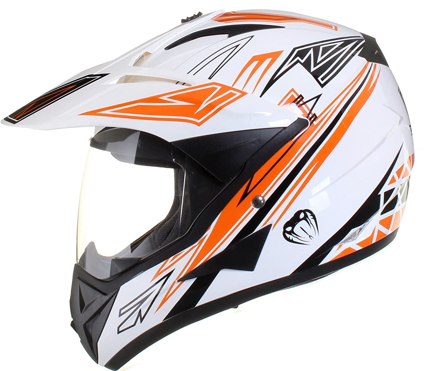 Qtech MX Crash HELMET with Visor for Motocross Motorbike ATV Enduro VIPER in Red, Black & White - MEDIUM 57-58cm