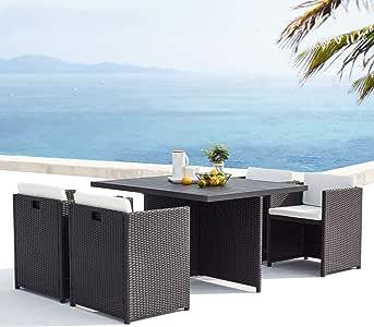 JFB Le Kaolino – Conjunto de muebles de jardín empotrable de 4 plazas de resina trenzada y aluminio negro cojines blancos: Amazon.es: Jardín