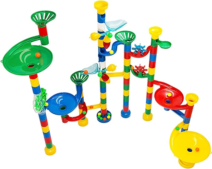 130 Pieces with 30 Marbles Race Coaster Educational Construction Building Blocks by MetroTen Marble Run Toy Maze Ball Game Set for Kids
