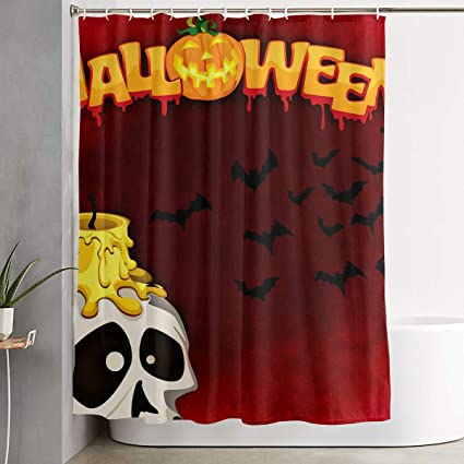 Amazon Com Cute Halloween Skull With Candle Cartoon Bathroom Shower