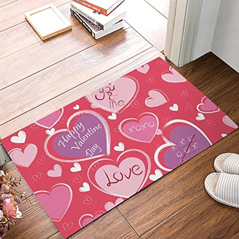 Amazon Com Familydecor Non Slip Doormat Entrance Mat Indoor Outdoor Front Door Bathroom Valentine S Day Theme Heart Shaped Pattern Printed Floor Welcome Mat You And Me Love Purple And Pink White 18x30in Home Kitchen