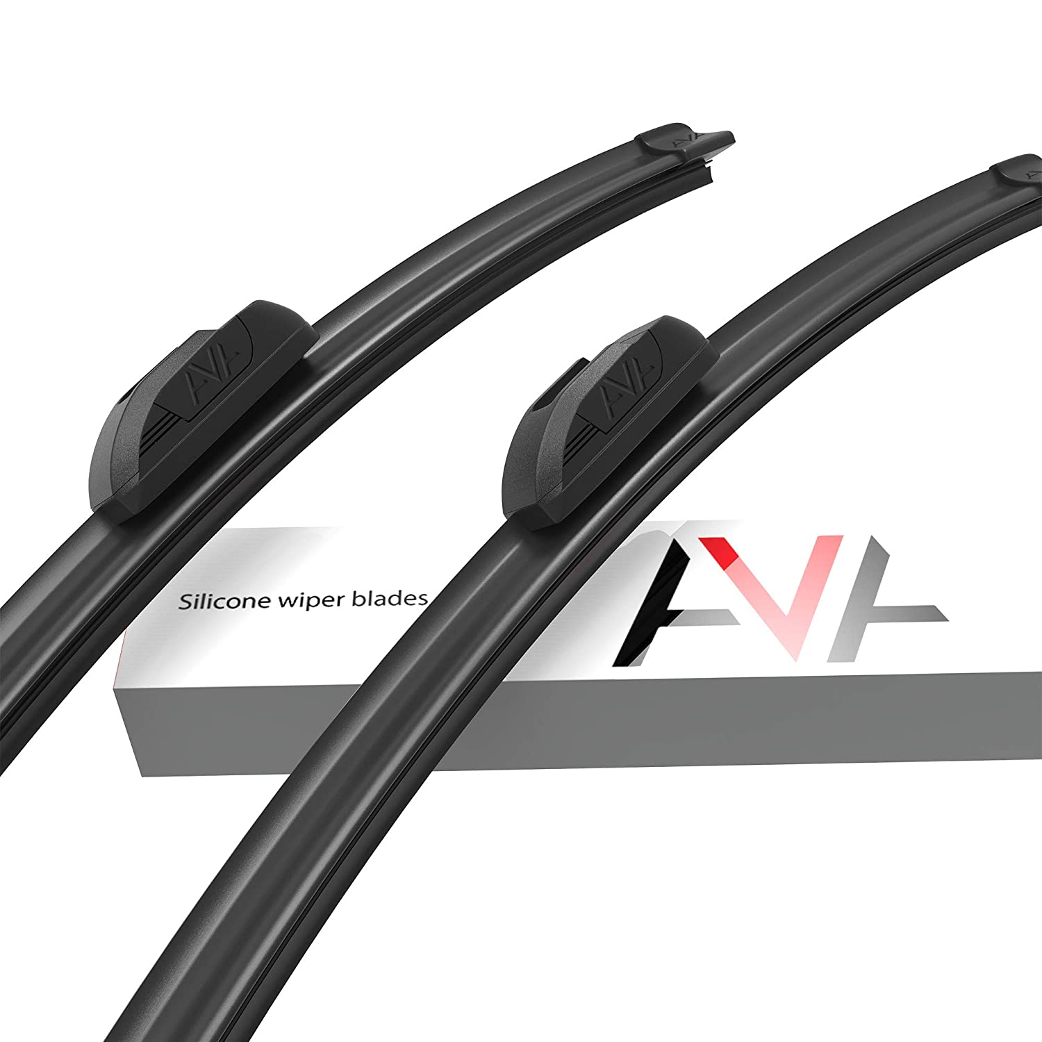 AVA 24+18 Silicone Windscreen Wipers Quiet and Long-Lasting Water-Repellent All-Weather Pack of 2