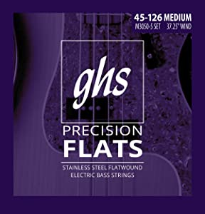 """GHS Strings, 5-String Bass Precision Flats, Stainless Steel Flatwound, 37.25"""" Winding, Medium (.045.126) (M3050-5)"""