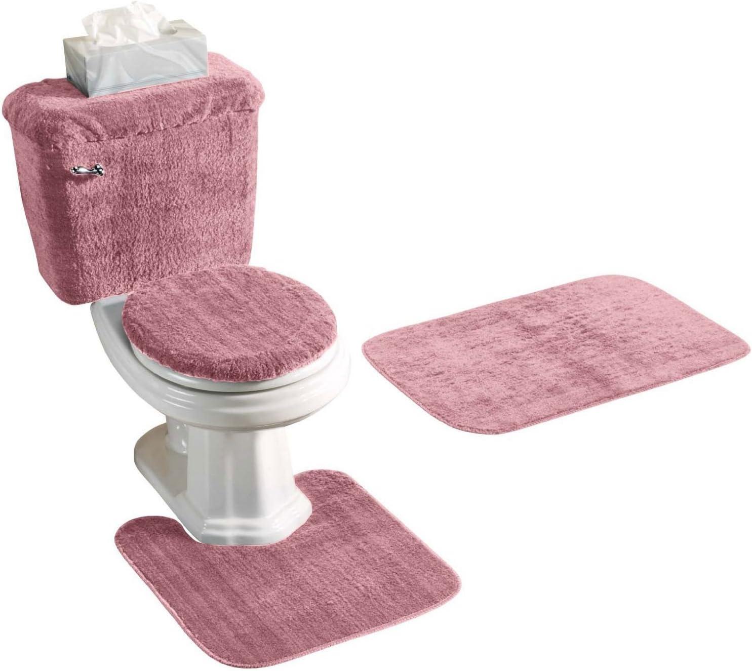 Amazon Com 5 Piece Rose Pink Bathroom Rug Set Includes Area Rug Contour Rug Lid Cover And Tank Set Color Rose Pink Home Kitchen