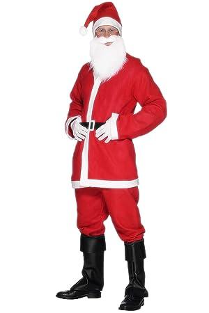 Smiffys Disfraz de Papá Noel para hombre, chaqueta, pantalones, barba, sombrero y cinturón