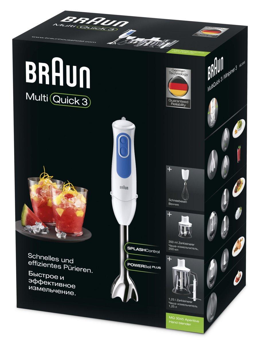 Braun Minipimer 3 MQ3045WH Aperitive - Batidora de mano, anti-salpicaduras, powerbell plus, paquete de accesorios premium, 700 w, 2 velocidades, ...