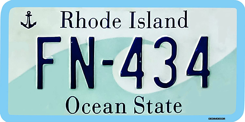Matricula Decorativa 30,00 cm x 15,00 cm Rhode Island | Decoración Pared | Aluminio 3 mm resistente: Amazon.es: Hogar
