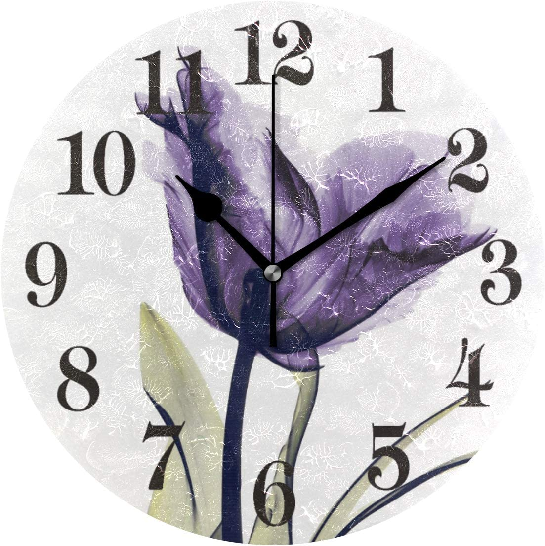 10 Inch Round Wooden Wall Clock, Battery Operated, Purple Flowers Floral Wall Decor for The Kitchen Living Room Bedroom and Office