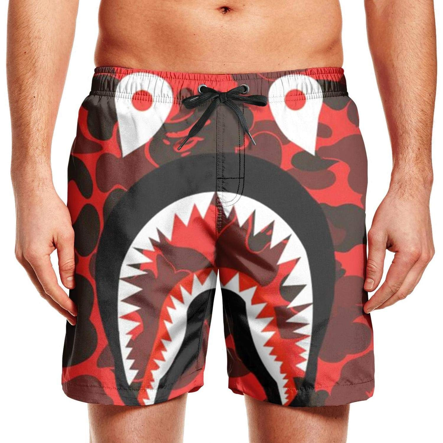 Mens Beach Shorts Shark Under The Camouflage Quick Dry Swim Trunks Side Pockets Board Shorts