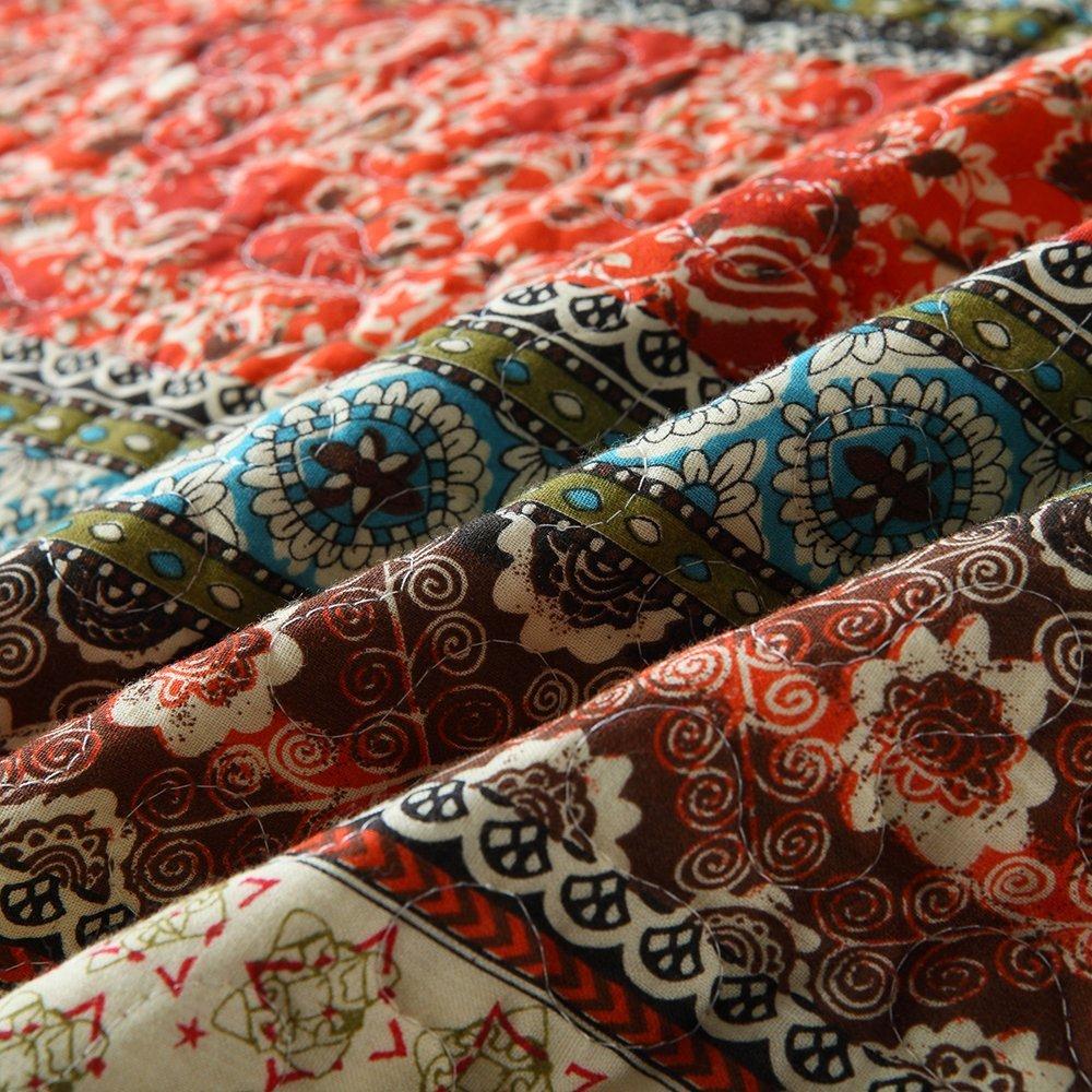 AMWAN Vintage Flower Floral Quilt Set Queen Luxury Soft Cotton Bedsspread Set Teens Girls Burgundy Coverlet Set Cotton Reversible Wedding Quilt Set Queen Bed All Seasons Blanket with 2 Pillow Shams