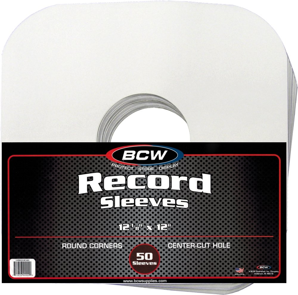 (100) BCW Brand 12 Record White Paper Inner Sleeves BCW-PRS33-RC-WH