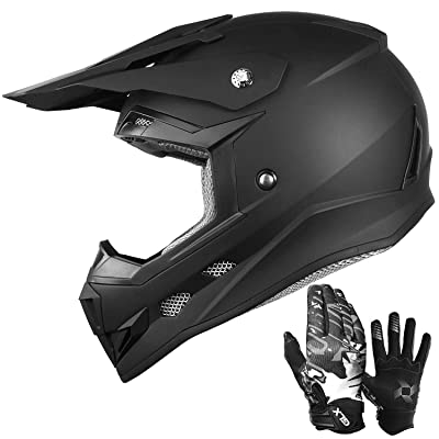 GLX Unisex-Child GX623 DOT Kids Youth ATV Off-Road Dirt Bike Motocross Helmet for Boys & Girls (Matte Black, Medium): Automotive