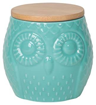 Amazon.com: Now Designs Small Owl Canister, Turquoise: Kitchen ...