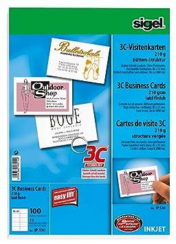 Sigel IP530 Lot De 10 Feuilles Cartonnes A4 Pour 100 Cartes Visite 3C Bords