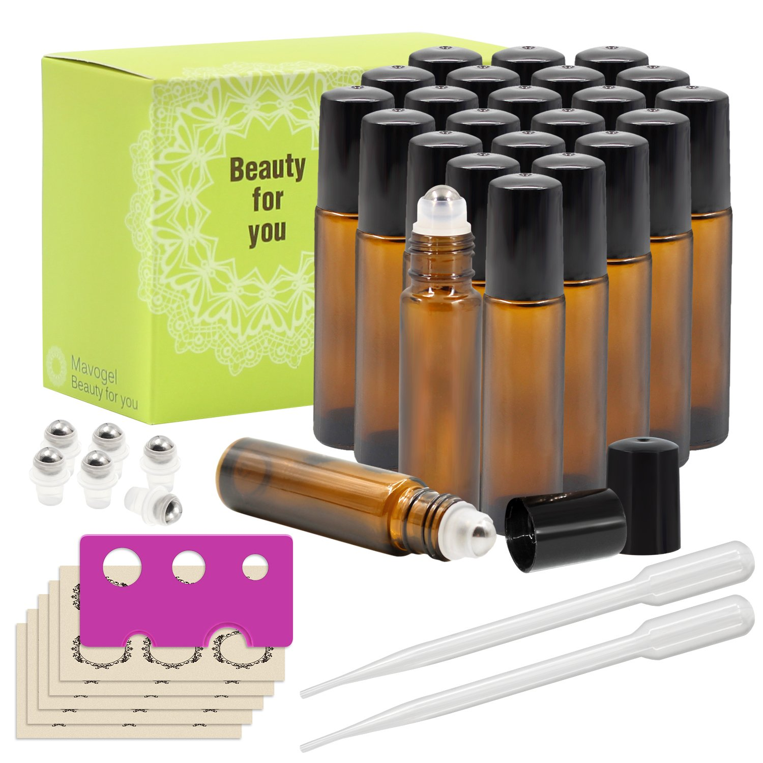 24, 10ml Amber Glass Roller Bottles With Stainless Steel Roller Ball for Essential Oil by Mavogel - Include 6 Extra Roller Ball, 30 Pieces Labels, Essential Oils Opener, 1ml Dropper