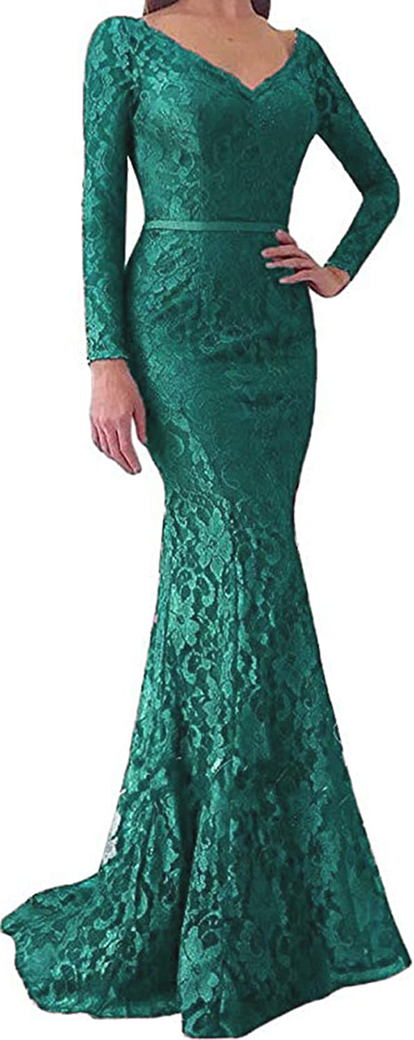 Turquoise Ri Yun Women's Long Sleeves Lace Prom Dresses Mermaid VNeck Backless Formal Evening Party Gowns