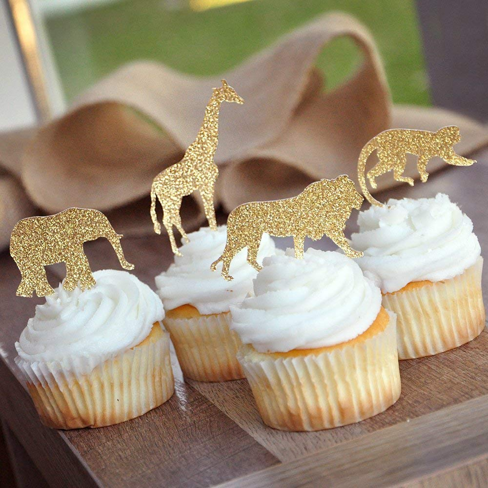 LIK 30 pezzi oro glitter Jungle Safari Animal Cake Toppers Cupcake Picks decorazione per baby shower festa di compleanno