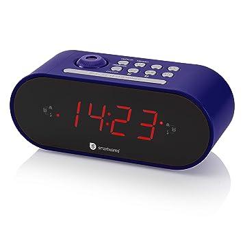 Smartwares CL-1498 - Reloj Despertador con Dos Alarmas, Radio FM, Proyector, Color Azul