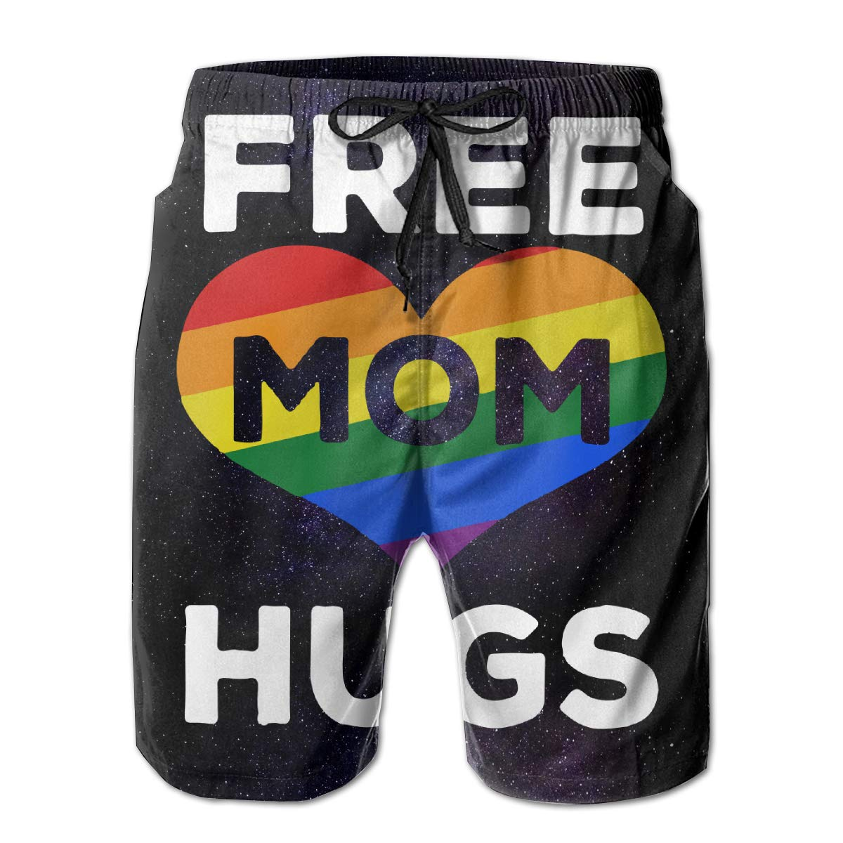 Rainbow Heart Free Mom Hugs Mens Board//Beach Shorts Fashion Beachwear