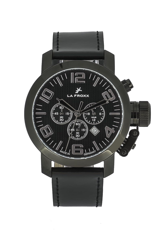 LA FROXX GRENADE Herren Armbanduhr Chronograph Quartz Edelstahl schwarz echtes Lederband 1608.46.26