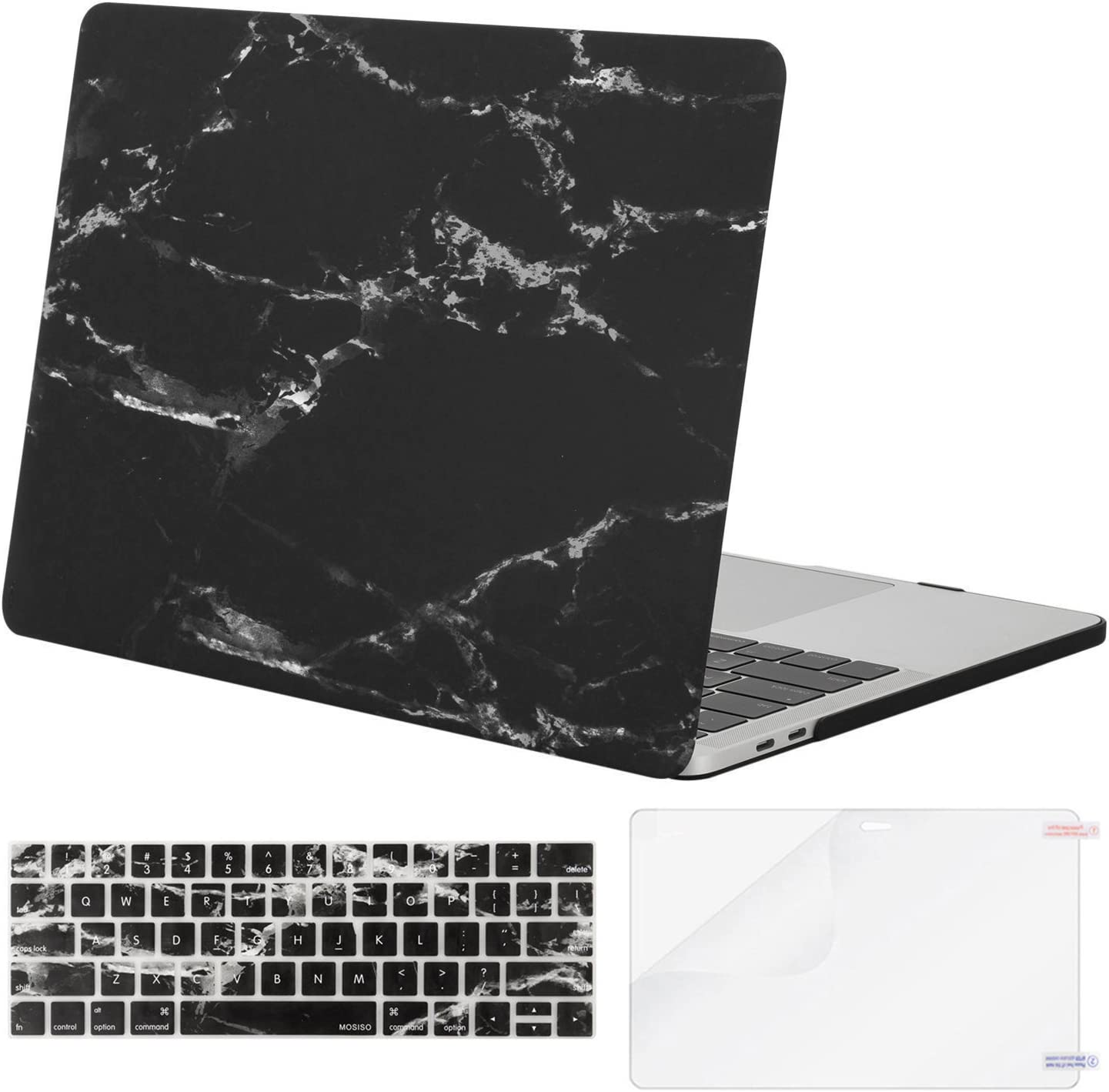 MOSISO MacBook Pro 13 inch Case 2019 2018 2017 2016 Release A2159 A1989 A1706 A1708, Plastic Pattern Hard Shell Case&Keyboard Cover&Screen Protector Compatible with MacBook Pro 13, Black Marble