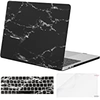 MOSISO MacBook Pro 13 Inch Case 2019 2018 2017 2016 A2159 A1989 A1706 A1708 w/ & w/o Touch Bar,Plastic Pattern Hard Case&Keyboard Cover&Screen Protector Compatible with Mac Pro 13,Black Marble