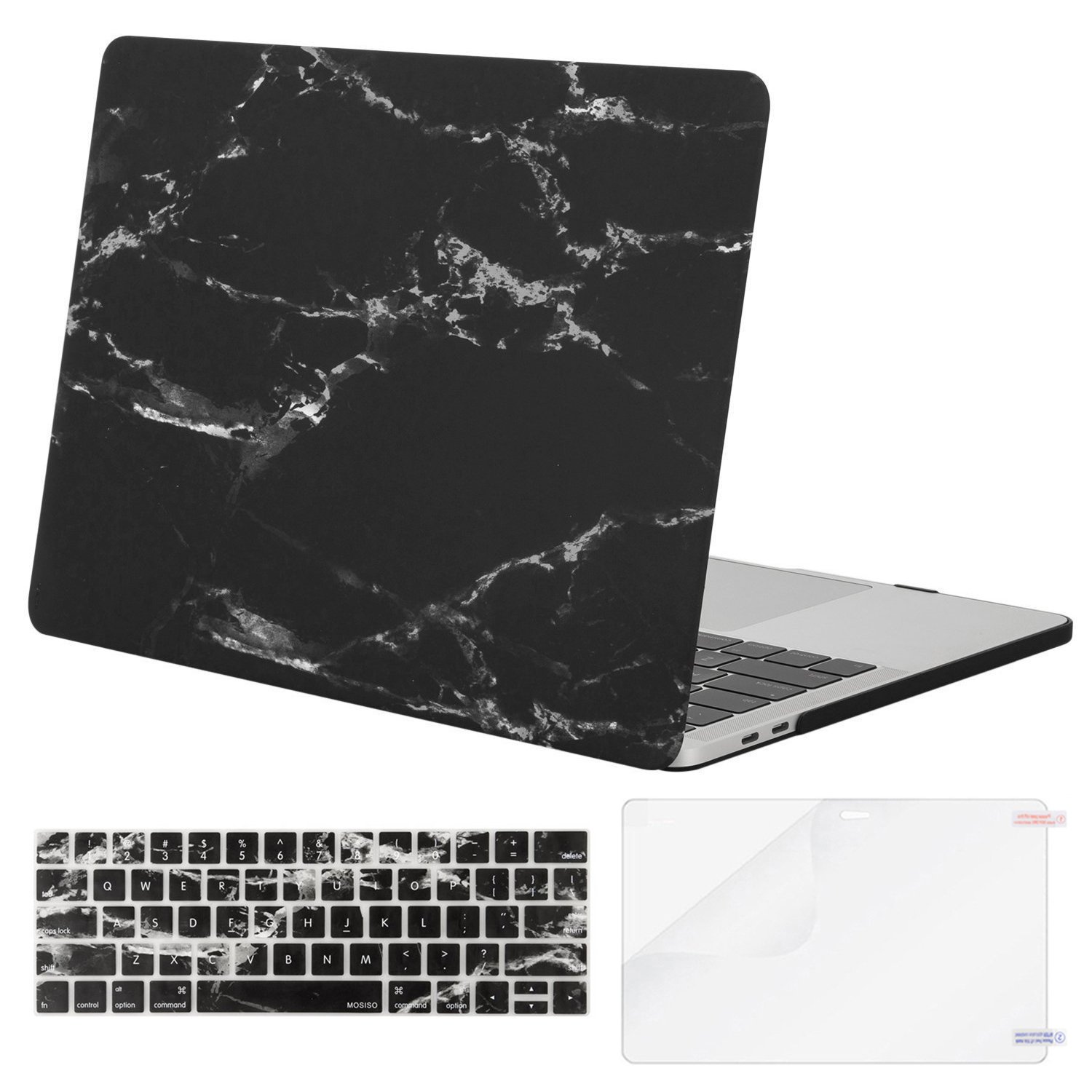 MOSISO MacBook Pro 13 Case 2018 2017 2016 Release A1989/A1706/A1708 Touch Bar, Plastic Pattern Hard Shell & Keyboard Cover & Screen Protector Compatible Newest Mac Pro 13 Inch, Black Marble
