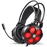 【ゲーミングヘッドセット】EasySMX COOL 2000 LEDステレオゲーミングヘッドホン マイク付き ボリューム調節可能 Yスプリッタケーブル PC/Mac / New Xbox One Slim / PS4 / スマホ/Nintendo Switchに対応 (ブラック+レッド)