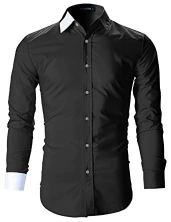 FLATSEVEN Mens Designer Slim Fit Dress Shirts at Amazon Men's ...