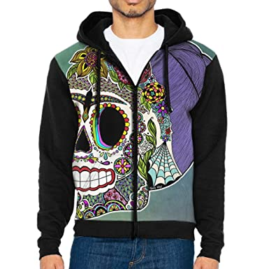 Sugar Skull Flowers Cool Mens Black Hoodie Sweatshirt Sportswear Jackets With Hoodies