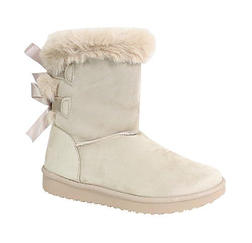 By Shoes Botte Fourrée Style Daim Femme