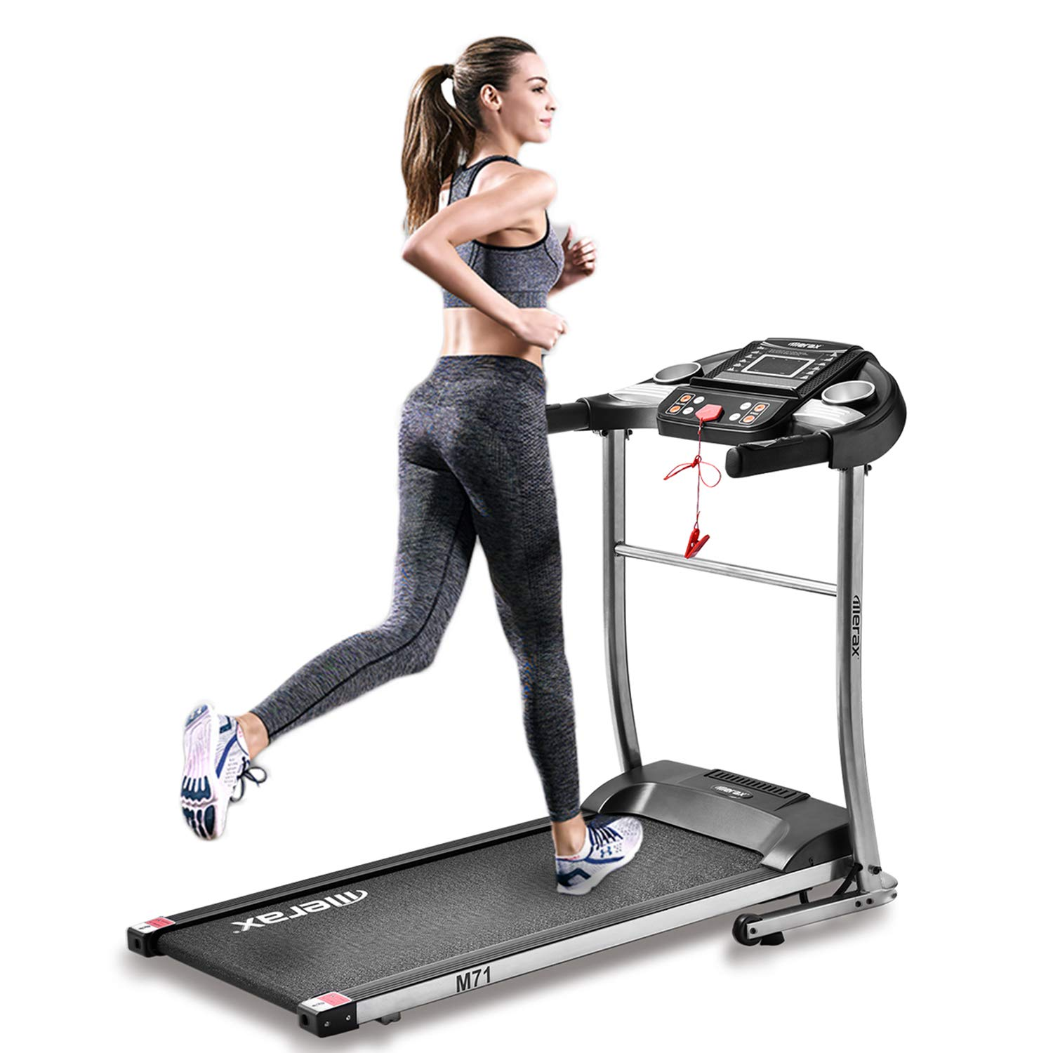 Merax Electric Folding Treadmill Motorized Running and Jogging Fitness Machine for Home Gym Silver