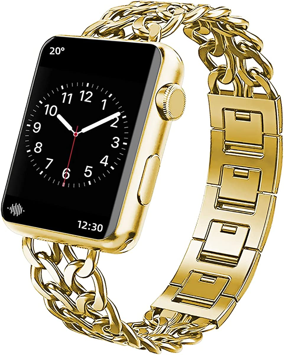 SEILETOO Stainless Steel Cowboy Double Chain style watch band Compatible with Apple Watch Band 38mm 40mm 42mm 44mm for iWatch Series 6 5 4 3 2 1 SE