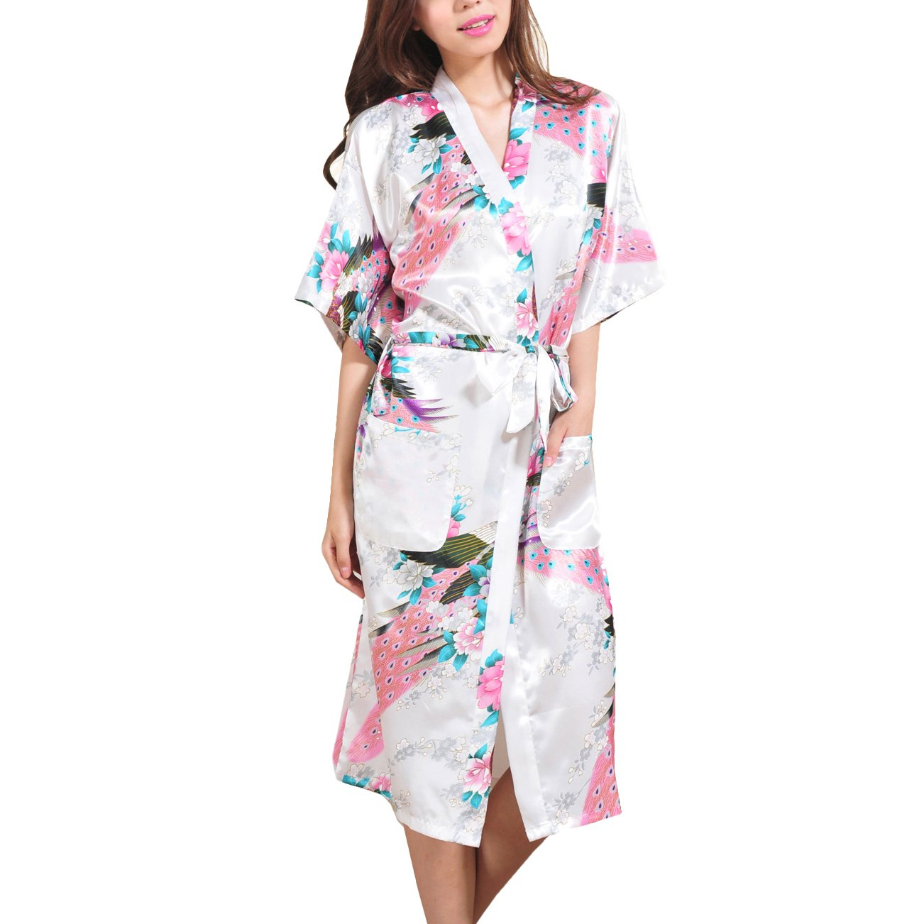 Waymoda - Bata de satén para mujer, diseño pavo real y flores, estilo Kimono largo: Amazon.es: Ropa y accesorios