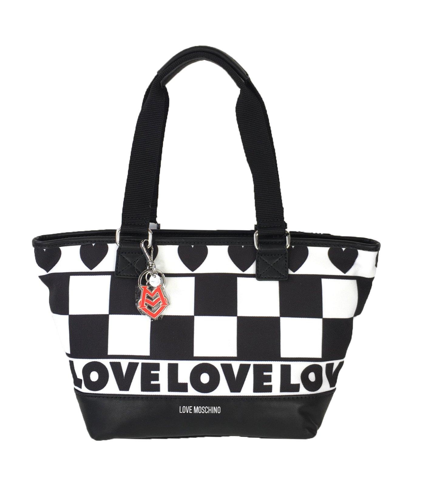 Love Moschino Checkerboard Canvas Tote, Black /White