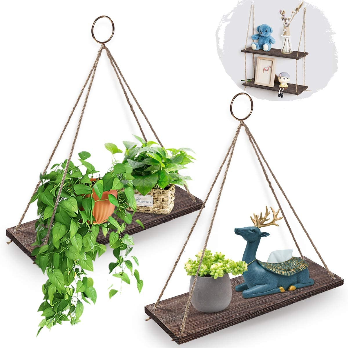 Agsivo Wooden Wall Shelf with Rope