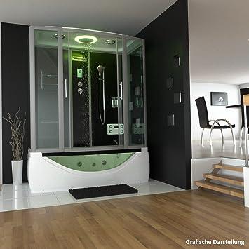 TroniTechnik Duschtempel Whirlpool Badewanne Komplettdusche Duschkabine  Dusche 170x90 Schwarz