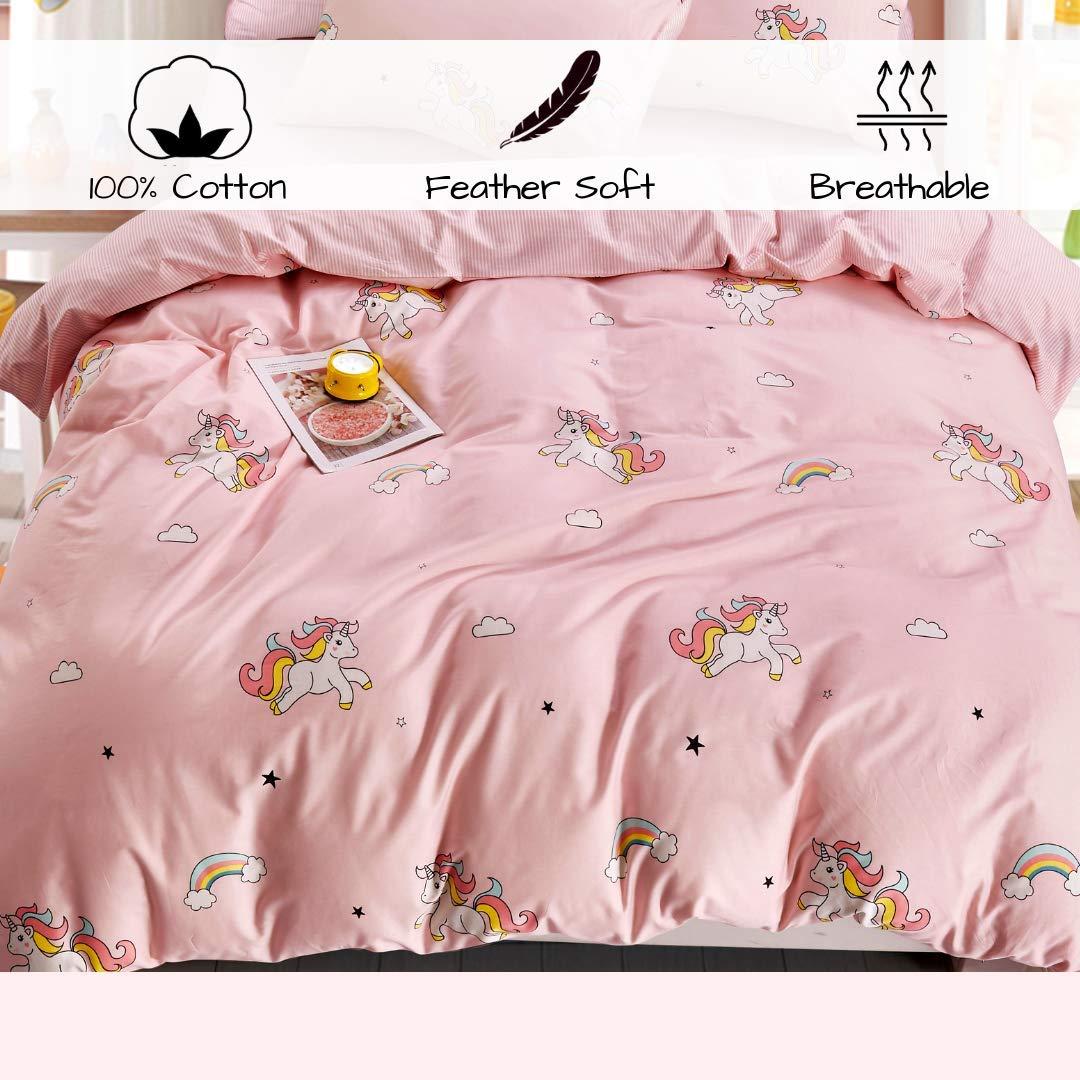 ELLE & KAY Unicorns Duvet Cover Set/Unicorn Kids Bedding/ 100% Cotton Queen Zipper Bedding/Full Reversible Girls Comforter Cover/ 3 Piece Queen Duvet Cover Set. by ELLE & KAY (Image #5)